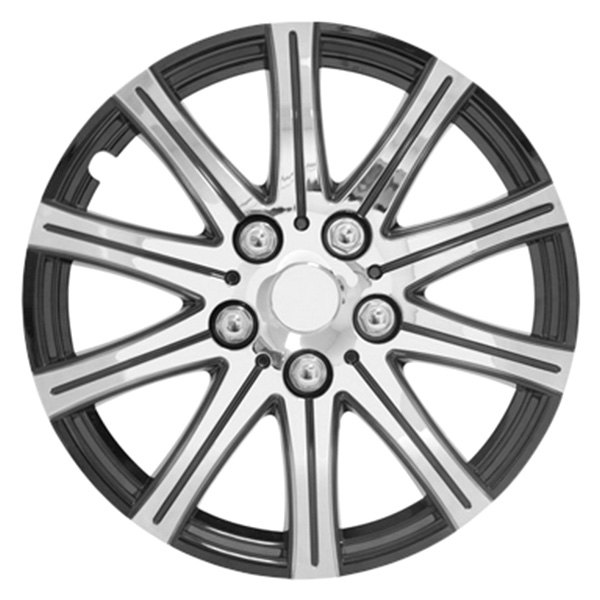 Pilot® - Stick Silver Wheel Covers with Black Accent 14""