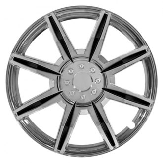Pilot® - 8 Spoke Chrome with Black Inserts Wheel Covers