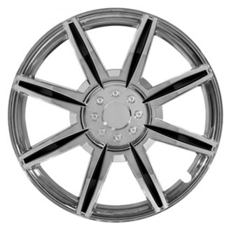 "Pilot® - 15"" 8 Spoke Chrome with Black Inserts Wheel Covers"