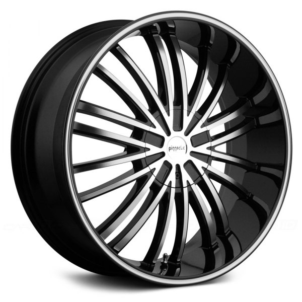 pinnacle via wheels black with machined face and ring rims