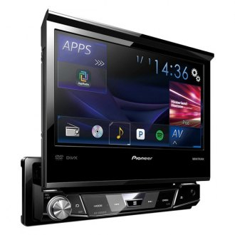 "Pioneer® - Single DIN DVD/CD/AM/FM/MP3/WMA/AAC/FLAC Receiver with 7"" Flip-out Display, Built-In Bluetooth, Spotify and AppRadio One"