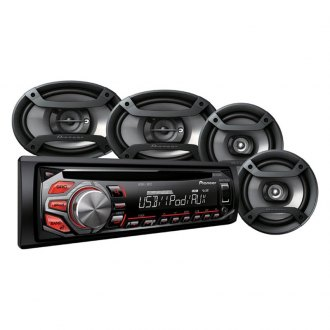 "Pioneer® - Single DIN CD/AM/FM/MP3/WMA/AAC In-Dash Receiver with Two 6.5"" and Two 6"" x 9"" Speakers"