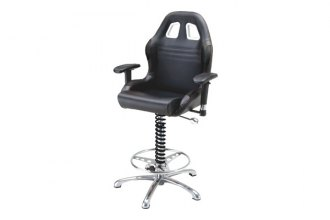 PitStop Furniture® - Crew Chief Black-on-Black Bar Chair