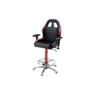 PitStop Furniture® - Crew Chief Black-on-Red Bar Chair