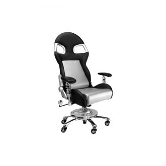 PitStop Furniture� - Formula One Series Black-on-Silver Chair