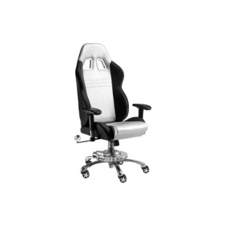 PitStop Furniture® - Grand Prix Series Black-on-Silver Chair