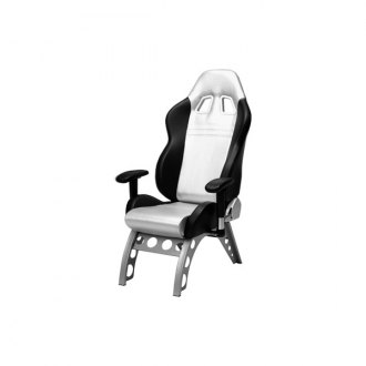 PitStop Furniture® - GT Receiver Series Black-on-Silver Chair