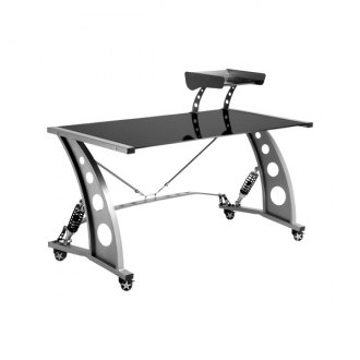 PitStop Furniture® - Racing Style Black Glass Top Desk