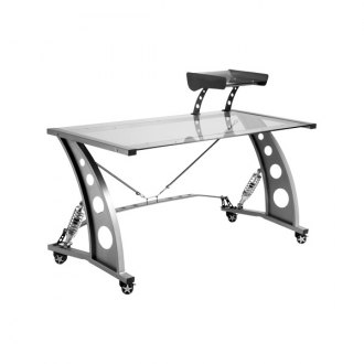 PitStop Furniture® - Racing Style Clear Glass Top Desk