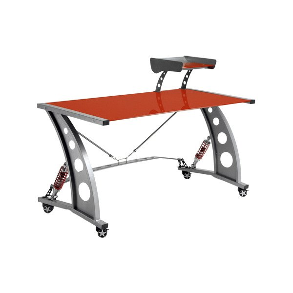PitStop Furniture® - Racing Style Red Glass Top Desk