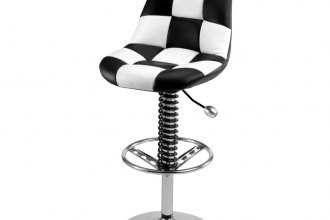 PitStop Furniture® - Pit Crew Series Black-on-White Bar Chair