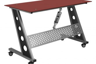 PitStop Furniture® - Compact Red Glass Top Desk