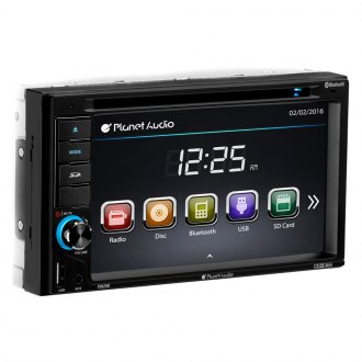 "Planet Audio® - Double DIN DVD/CD/AM/FM/MP3/WMA/MP4/AVI Receiver with 6.2"" Touchscreen Display, Built-In Bluetooth and Sub Level Control"