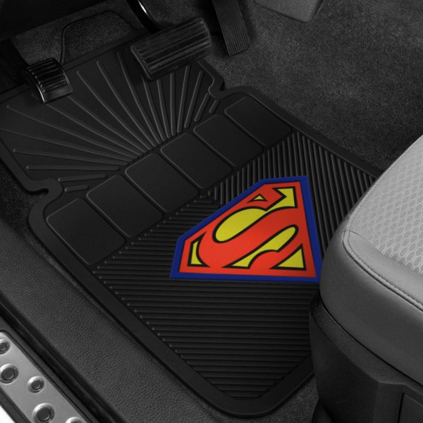 Plasticolor® - 1st Row Black Rubber Floor Mats with Original Superman Logo