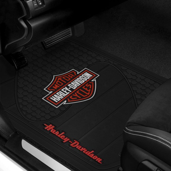 Plasticolor® - 1st Row Black Rubber Floor Mats with Red Harley-Davidson Logo