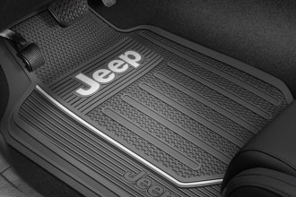 Plasticolor® - 1st Row Gray Rubber Elite Floor Mats with White Jeep Logo