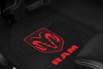 Plasticolor® - 1st Row Black Rubber Floor Mats with Red Ram Logo