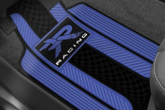 Plasticolor® - 1st Row Blue/Black Rubber Floor Mats with R Racing Logo