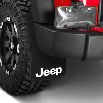 Plasticolor® - Easy Fit Mud Flaps with White Jeep Logo