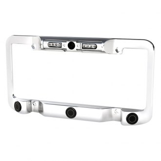 Power Acoustik® - Chrome License Plate Frame with Night Vision Camera
