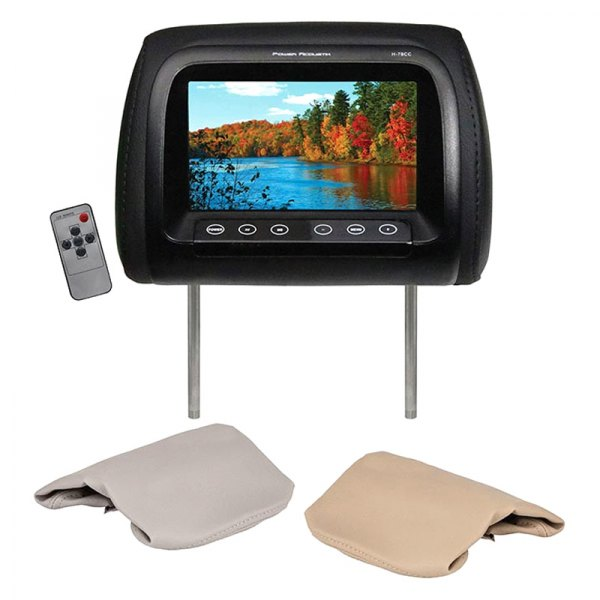 "Power Acoustik® - 7"" Headrest LCD Monitor with 3 Interchangeable Covers"