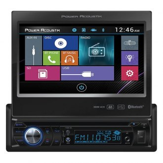 "Power Acoustik® - Single DIN DVD/CD/AM/FM/MP3/MP4 Receiver with Motorized 7"" Touchscreen Display, Built-In Bluetooth and Sub Level Control"