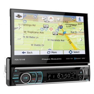 "Power Acoustik® - Single DIN DVD/CD/AM/FM/MP3/WMA/AAC/AVI Receiver with Motorized 7"" Touchscreen Display Built-In Bluetooth and GPS Navigation"