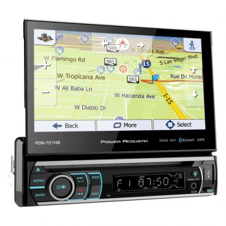 "Power Acoustik® - Single DIN DVD/CD/AM/FM/MP3/AAC/FLAC Receiver with Motorized 7"" Touchscreen Display and Built-In Bluetooth and GPS Navigation"
