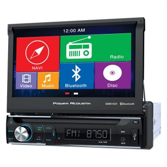"Power Acoustik® - Single DIN DVD/CD/AM/FM/MP3/MP4 Receiver with Motorized 7"" Touchscreen Display Built-In Bluetooth and GPS Navigation"