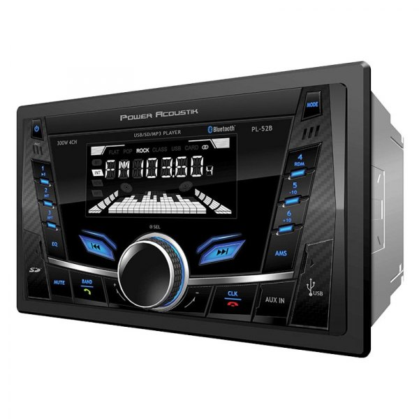 Power Acoustik® - Double DIN AM/FM/MP3/MP4 Digital Media Receiver with Built-In Bluetooth