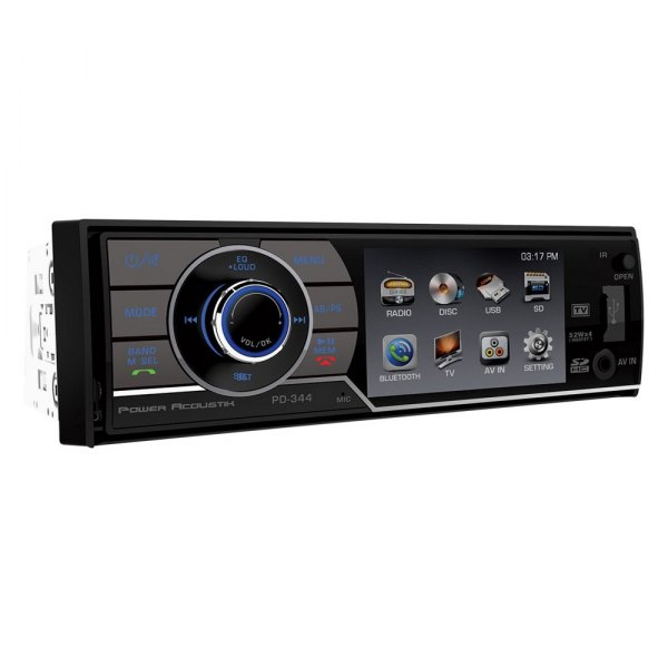 "Power Acoustik® - Single DIN Stereo Receiver with Detachable 3.4"" Screen"