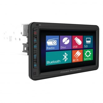 "Power Acoustik® - Single DIN DVD/CD/AM/FM/MP3/WMA Stereo Receiver with Motorized Detachable 7"" Touchscreen Monitor"