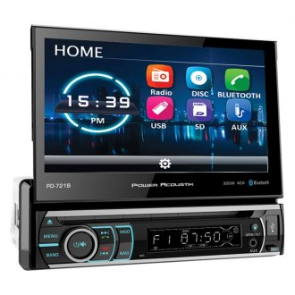 "Power Acoustik® - Single DIN DVD/CD/AM/FM/MP3/WMA/WAV/MP4 Receiver with 7"" Motorized Touchscreen Display and Built-In Bluetooth"