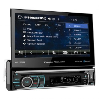 "Power Acoustik® - Single DIN DVD/CD/AM/FM/MP3/WMA/WAV/MP4 Receiver with 7"" Motorized Touchscreen Display, Built-In Bluetooth and SiriusXM Ready"