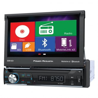 "Power Acoustik® - Single DIN DVD/CD/AM/FM/MP3/MP4 Stereo Receiver with 7"" Motorized LCD Display, Built-In Bluetooth and MHL MobileLink X2"