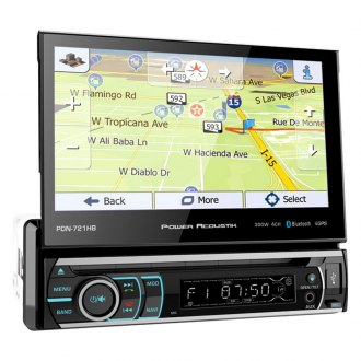 "Power Acoustik® - Single DIN DVD/CD/AM/FM/MP3/WMA/WAV/MP4 Receiver with 7"" Motorized Touchscreen Display, Built-In Bluetooth, SiriusXM Ready and Built-In GPS Navigation"