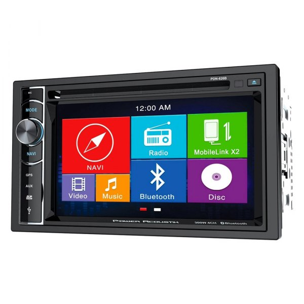 "Power Acoustik® - Double DIN DVD/CD/AM/FM/MP3/MP4 Receiver with 6.2"" Touchscreen Display Built-In Bluetooth and GPS Navigation"