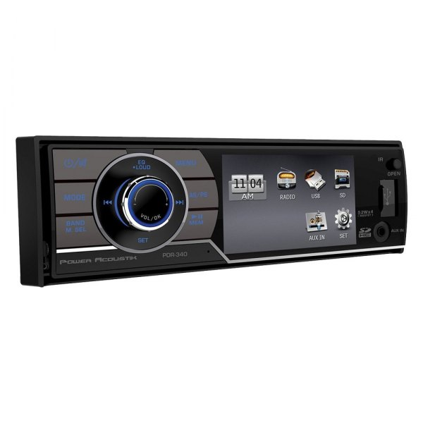 "Power Acoustik® - Single DIN Mechless Stereo Receiver with Detachable 3.4"" LCD Screen"