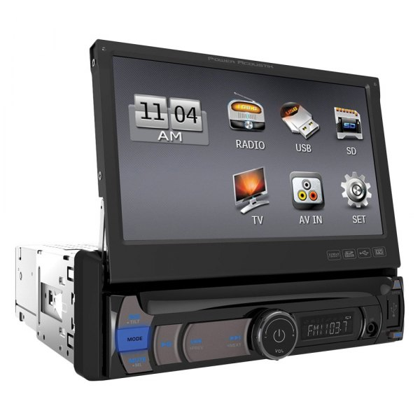 "Power Acoustik® - Single DIN Mechless Stereo Receiver with Flip-Up 7"" HD Touch Screen"