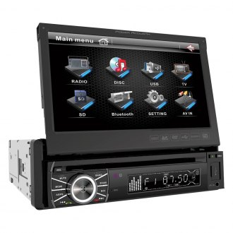 "Power Acoustik® - Single DIN DVD/CD/AM/FM/MP3/MP4 Receiver with Motorized 7"" Touchscreen Display"