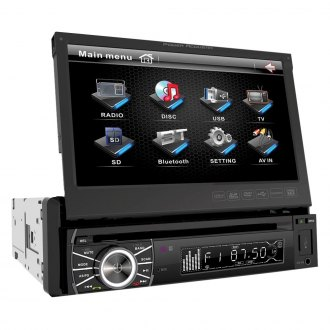 "Power Acoustik® - Single DIN DVD/CD/AM/FM/MP3/DivX Stereo Receiver with Flip-Up 7"" Touchscreen and Built-In Bluetooth"