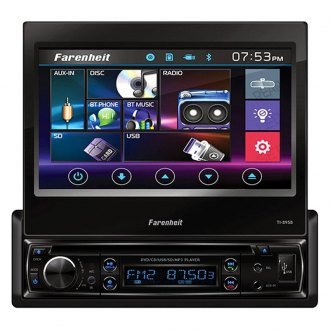 "Power Acoustik® - Farenheit™ Single DIN DVD/CD/AM/FM/MP3/WMA/WAV/MP4 Receiver with 7"" Motorized Touchscreen Display and Built-In Bluetooth"