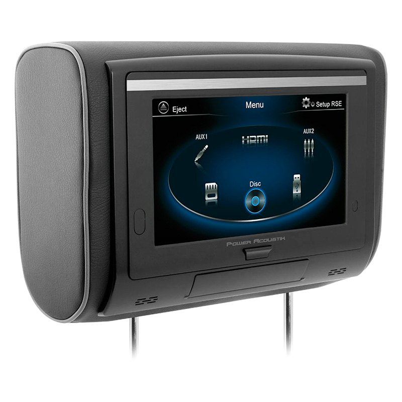 "Power Acoustik® HDVD94T - 9"" Headrest Touchscreen LCD Monitor with Built-In DVD Player and 3 Interchangeable Covers"