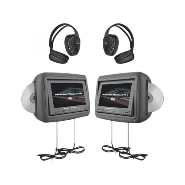 power acoustik 174 hdvd9grdk 8 8 quot gray headrest lcd monitors with built in dvd player fm