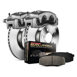Power Stop® - 1-Click Autospecialty OE Replacement Plain Front Brake Kit with Calipers