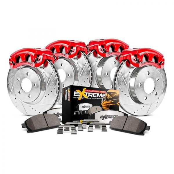 Power Stop® - 1-Click Extreme Z36 Truck and Tow Drilled and Slotted Front and Rear Brake Kit with Calipers