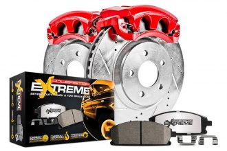 Power Stop® - 1-Click Extreme Z36 Truck and Tow Drilled and Slotted Front Brake Kit with Calipers