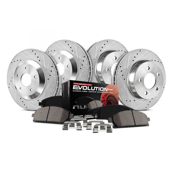 Power Stop® - 1-Click Z23 Evolution Sport Drilled and Slotted Front and Rear Brake Kit without Calipers