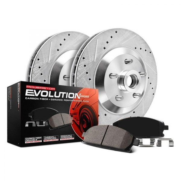 Image may not reflect your exact vehicle! PowerStop® - 1-Click Z23 Evolution Sport Drilled and Slotted Front Brake Kit w/o Calipers