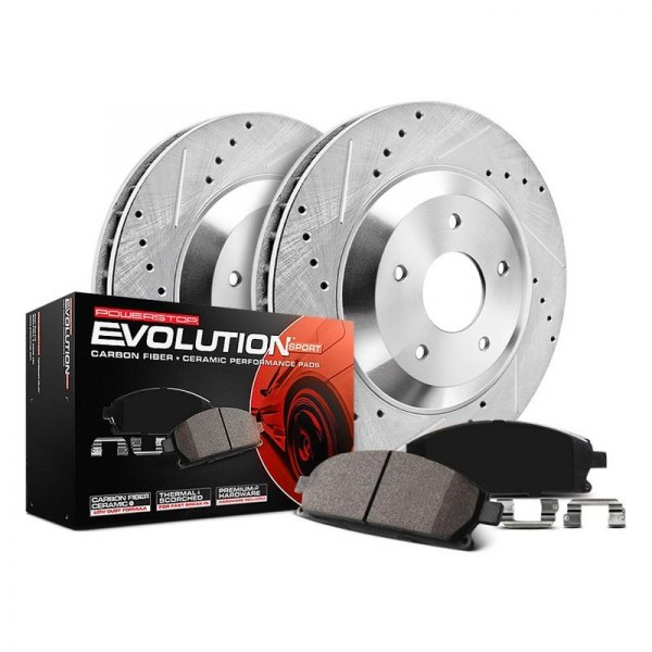 Image may not reflect your exact vehicle! Power Stop® - 1-Click Z23 Evolution Sport Drilled and Slotted Front Brake Kit without Calipers